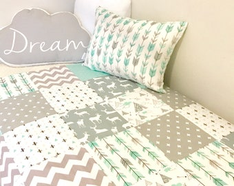Patchwork Cot / Crib Quilt Made in Australia Mint and Grey Baby blanket Nursery Bedding