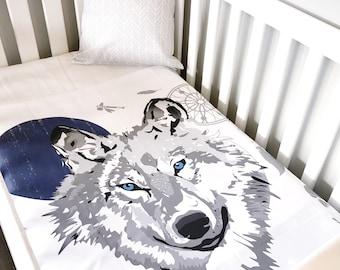 Wolf Tribal Woodland Cot Blanket Crib Quilt Baby Boy Nursery Bedding