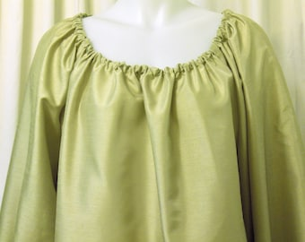 Yellow-Green, Long Sleeve, Faux Silk Pirate, Fairy, Peasant Blouse, Size L