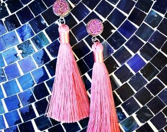 HYPOALLERGENIC EARRINGS Glam Druzy Duster Earrings - Tassel Earrings - Pink Silver