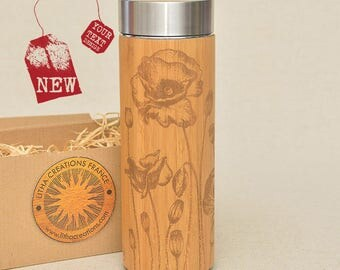 Customized Thermos Engraved Bamboo Wood POPPY ROW Stainless Steel with Screw Lid
