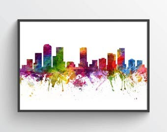 Denver Skyline Poster, Denver Cityscape, Denver Print, Denver Art, Denver Decor, Home Decor, Gift Idea, USCODE06P