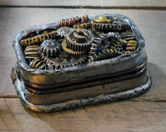 "Steampunk Inspired ""StacheBox"" of Gears! Is it a beat up old tin full of gears? Or  a cool box to stash your ""stashables""?"
