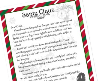 Printable Santa Letter from the North Pole, Santa Mail, Nice list certificate, Elf mail, Elf on the Shelf letter, christmas, letter to santa