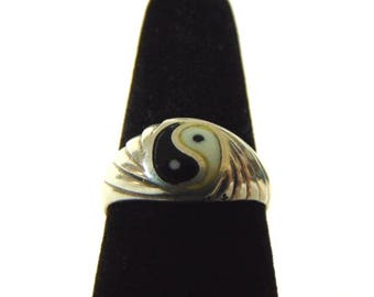 Vintage Estate Sterling Silver Chinese Yin Yang Ring 2.6g E2161