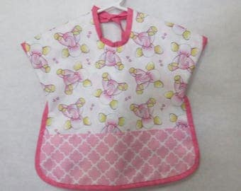 Toddler reversible bib pink elephants on one side and owls on other side made in Maine