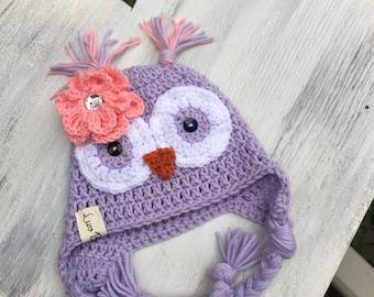 Crochet Owl Hat, LuvBeanies, Baby hats, Girl hats, girl owl hat, girl owl beanies, Purple owl hat, Baby owl hat, Animal hats, Childrens hats