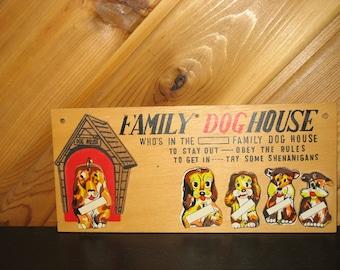 RARE Vintage Family Dog House Plaque 1958 - Original