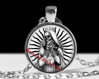 Santa Muerte pendant, day of the dead necklace, ritual altar jewelry, occult medallion, saint death, skull art, morte #25