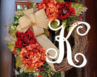 Hydrangea wreath, Fall wreath, Fall burlap wreath, Peony wreath, Fall wreath for front door, grapevine wreath, Rustic Fall wreath, Autumn