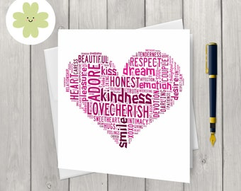 Love heart word art card, for her, for him, for them, customised card