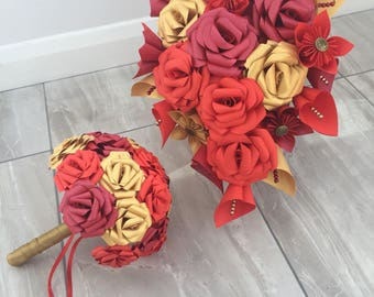 Beauty and the Beast wedding bouquets, bridal bouquet, wedding flowers, red bouquet, gold bouquet, paper flowers