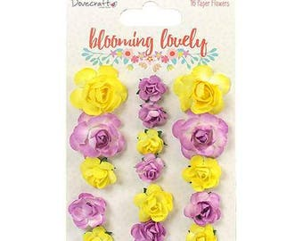 16 Paper Flowers Roses Blooms - Dovecraft Blooming Lovely - Pastel Yellow Purple Lilac - Scrapbook Embellishment