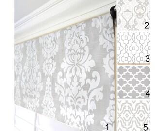 Gray Window Valance.Grey Damask Valance.French Gray Window Treatment Valance.Custom Valance.Gray Curtains.Gray Kitchen Valance