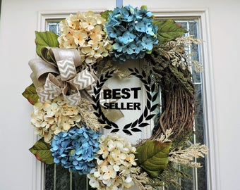 Best Selling Front Door Wreath,Front Door Hydrangea Wreath,Summer Wreath,Etsy Wreath,Shabby Chic Wreath,Wreath for Door,Blue hydrangea