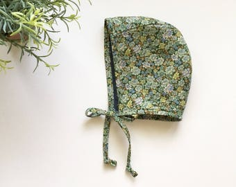 Reversible Bonnet - Chambray Swiss Dot and Floral
