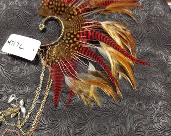 OOAK Handcrafted Tribal Feathered Ear Cuff // Burning Man // Festival // Rave // Belly Dance // Gypsy//Incognito M717L