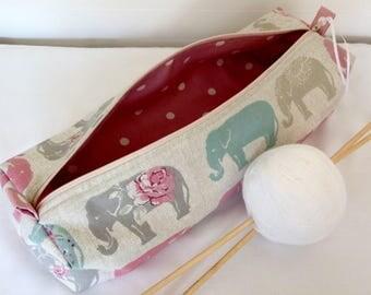 Knitting Bag, Elephants Knitting Needle Case, Knitting Bag, Crochet Bag, Craft Bag, Knitting Project, Pencil Case, Knitting Needles, Craft