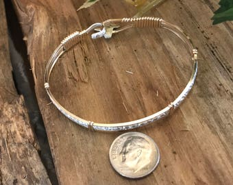 Square gold bracelet with sterling silver pattern middle and gold accents (Style J)