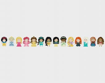 UPDATED 2017 | Disney Princess Minis Once Upon A Time Cross Stitch Pattern PDF Instant Download