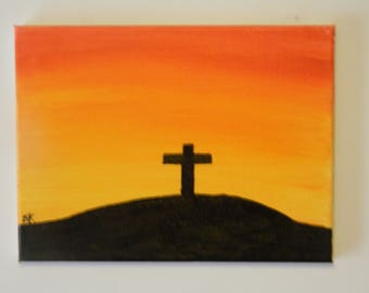 Cross on a Hill acrylic painting on canvas
