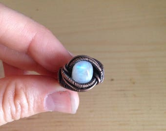 Copper Wire Wrapped Moonstone Ring - sz 4/4.5