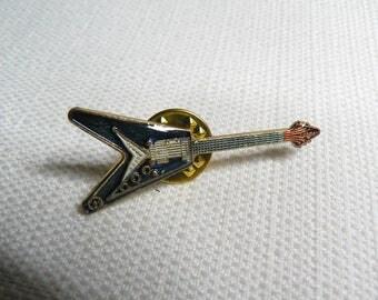 Vintage 80s Blue Enamel Flying V Guitar Pin / Button / Badge / Pinback