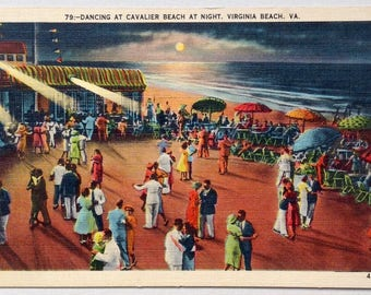 Virginia Beach, Cavalier Hotel, Vintage Postcard, Dancing, Cavalier Beach, 1940's, retro, old postcard