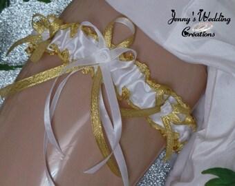 Garter designer model Aurora (gold and white)