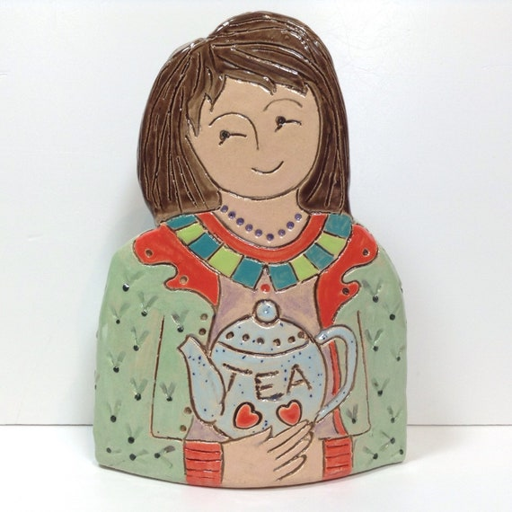 ON PRE-ORDER. Lady with Teapot. Handmade ceramic bust, mini-bust, Colourful People, collectible, one of a kind