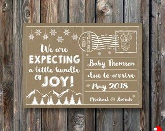 PRINTABLE Christmas Pregnancy Announcement Card–Christmas Card-Christmas Pregnancy Reveal Card-Christmas Baby Announcement-Rustic Kraft-PA28
