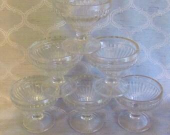 Set of 6 Vintage Jeannette Glass Co. Ice Cream Sherbet Glasses, Clear Glass Ice Cream Sundae, Antique Sherbet Glasses