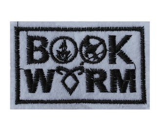 Book worm Iron on / sew on Embroidery Patch Badge Embroidered Applique hunger games, divergent, percy jackson Motif