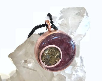 Powerful Orgone Crescent Moon Pendant - Amethyst, garnet, lepidolite, brass, herkimer diamond, copper