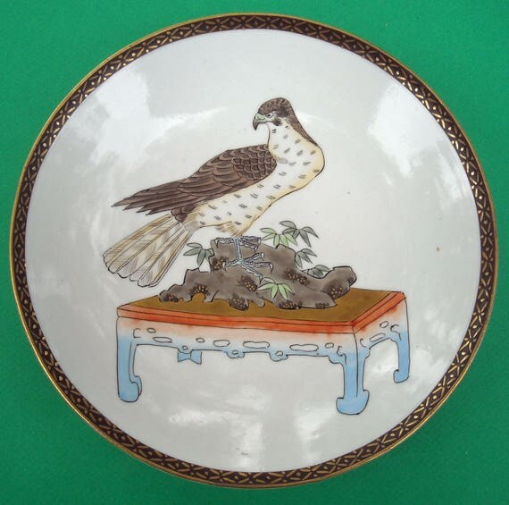 Antique Asian Japanese? Plate Raptor Hawk on Bonzai Plate on Table