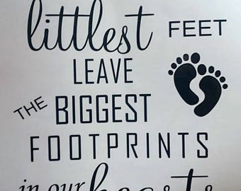 The littlest feet leave the biggest footprints vinyl transfer/box frame/gift/baby/frames/ribba/newborn