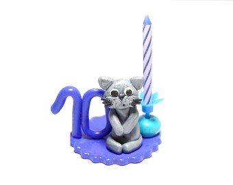 Candle 10 years old birthday boy Blue Cat