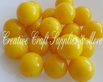 Yellow colored solid 20mm chunky beads- DIY bubblegum necklace kit- DIY chunky necklace kit- chunky beads- yellow- solid color beads