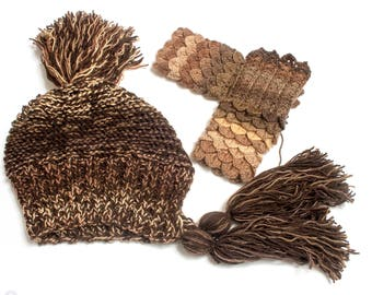 Mixed Brown Pom Pom Hat Slouchy Womens Ear Flap Knit Beanie - Charlotte - READY TO SHIP