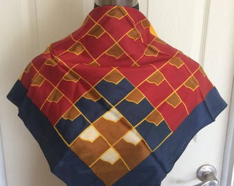 Vintage Fashion Scarf by Eastman Mfg., Co.Red, Blue and Burnt Orange with a Geometric Pattern- FREE SHIPPING EVERYWHERE