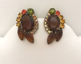 Vintage Multicolored Rhinestone Costume Jewelry Clip on Earrings