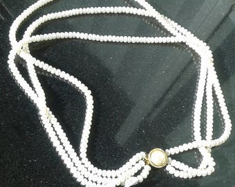 Bold natural pearl 16 in necklace in gold 925 sterling silver