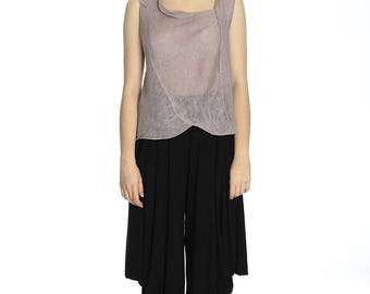 Summer transparent lilac linen top, M size.