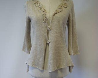 Artsy taupe linen cardigan, M size. Made of pure linen.