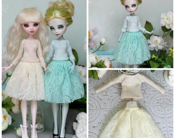 Vanilla Top and skirt for Monster High / EverAfterHigh dolls 1/6 size