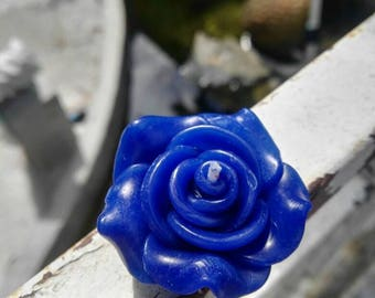 30x small Rose floating candles 3.5cm size - Navy Blue
