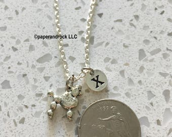 Poodle initial necklace, Poodle jewelry, silver poodle necklace, Pet jewelry, dog breed necklace, silver Poodle, Poodle jewelry necklace