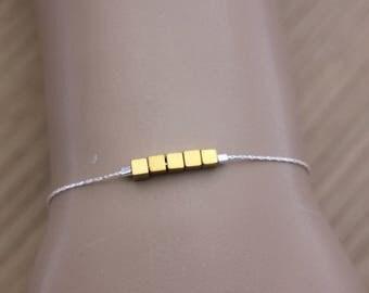 Sterling silver bracelet cubes in golden hematite 3mm - silver bracelet - minimalist bracelet - cube bracelet - hematite bracelet