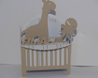 Bed baby giraffe card birth announcement