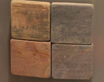 Tumbled Slate Tile Magnets, Set of 4